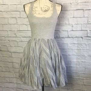 Anthropologie Free People Grey Eyelet Lace Dress